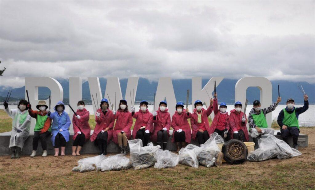 2021年7月1日守山市「第2なぎさ公園(野洲川河口湖岸緑地)での清掃活動の様子